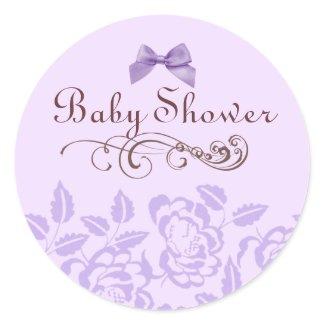 Elegant Purple Rose Baby Shower Envelope Sticker sticker