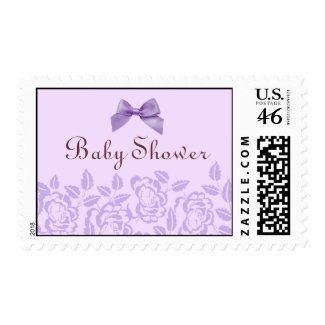 Elegant Purple Rose Baby Shower Stamp stamp