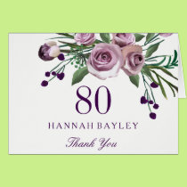 Elegant Purple Rose Floral 80th Birthday Thank You Card