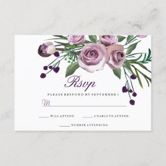 Elegant Purple Rose Floral Wedding RSVP