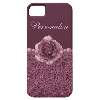 Elegant Purple Rose, Lace & Pearls iPhone 5 Covers