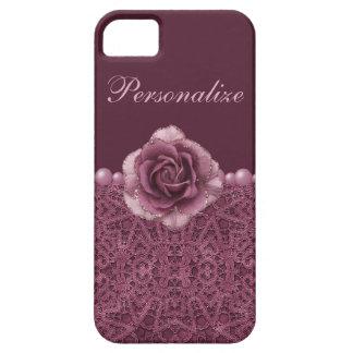Elegant Purple Rose, Lace & Pearls iPhone SE/5/5s Case