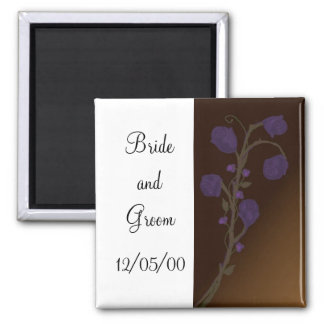 Elegant Purple Rose Save the Date Fridge Magnets