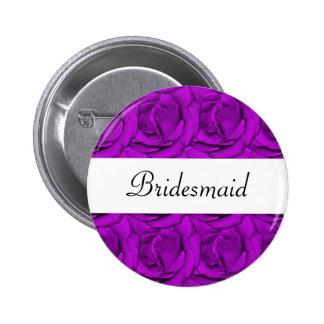 Elegant purple rose wedding name tags buttons