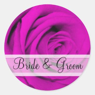 Elegant Purple Rose Wedding Stickers