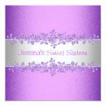 Elegant Purple Roses Sweet Sixteen Birthday 5.25x5.25 Square Paper Invitation Card