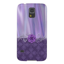 Elegant Purple Satin and Damask Samsung Galaxy S5 Galaxy S5 Cover