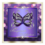"Elegant Purple Shimmering Lights Bokeh Masquerade 5.25"" Square Invitation Card"