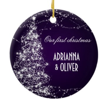 Christmas Themed Elegant Purple Shimmering Tree  First Christmas Ceramic Ornament