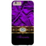 Elegant Purple Silk Look Black White Gold Jewel Barely There iPhone 6 Plus Case