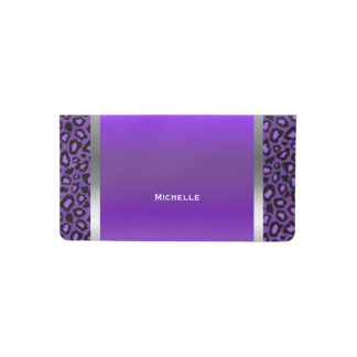 Elegant Purple, Silver and Leopard Animal Print Checkbook Cover