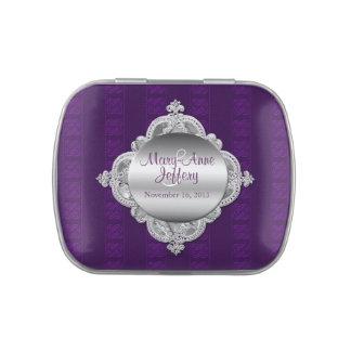 Elegant Purple & Silver Custom Wedding Candy Tin