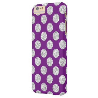 Elegant Purple Silver Glitter Polka Dots Pattern Barely There iPhone 6 Plus Case