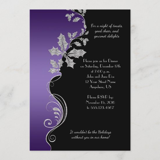 Elegant Purple Silver Holly Christmas Party Invitation
