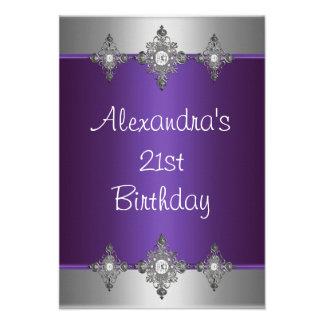 Elegant Purple Silver Jewel 21st Birthday Custom Invites
