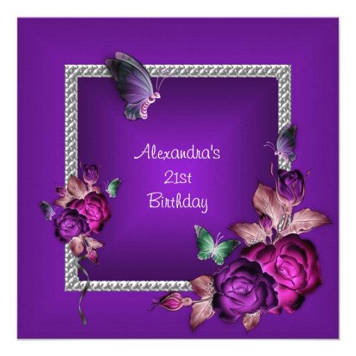 Elegant Purple Silver Jewel Flowers 21st Birthday Announcements