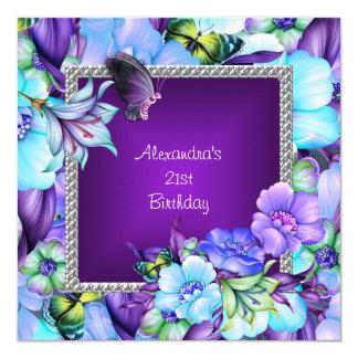 Elegant Purple Silver Jewel Flowers 21st Birthday 5.25x5.25 Square Paper Invitation Card