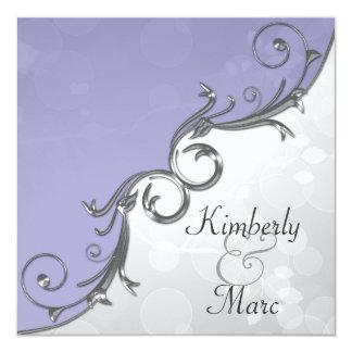 Elegant Purple Silver Leaf Overlay Wedding Invitat Card