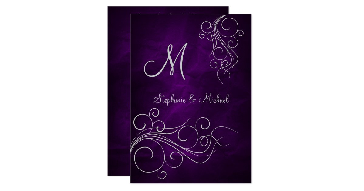 Elegant Purple Silver Monogram Wedding Invitation Zazzle