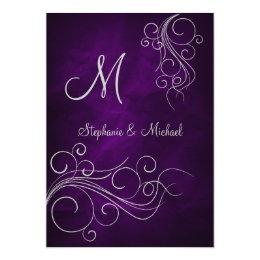 Elegant Purple Silver Monogram Wedding Invitation
