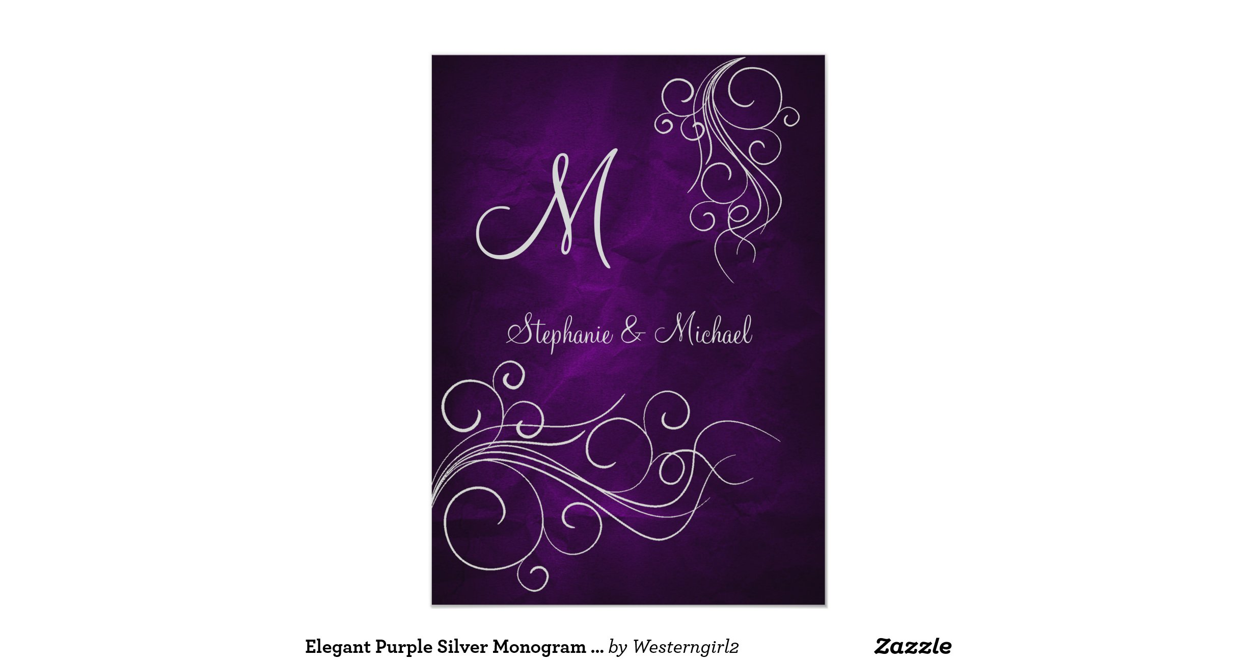 elegant_purple_silver_monogram_wedding_invitation ...