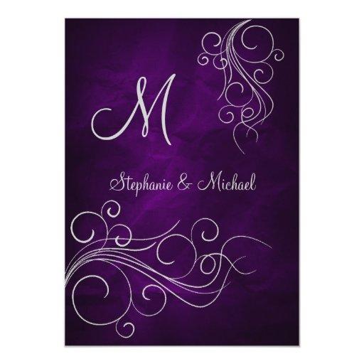 Purple And Silver Wedding Backgrounds: Elegant Purple Silver Monogram Wedding Invitation