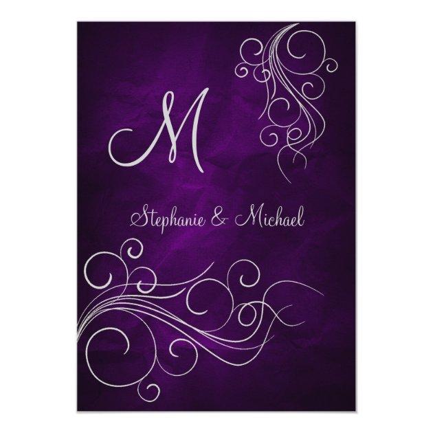 Elegant Purple Silver Monogram Wedding Invitation | Zazzle.com