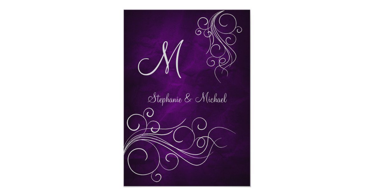 Elegant Monogram Wedding Invitations: Elegant Purple Silver Monogram Wedding Invitation