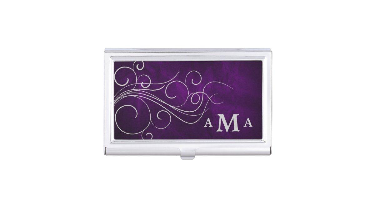 Elegant Purple Silver Swirl Monogram Business Card Case | Zazzle.com