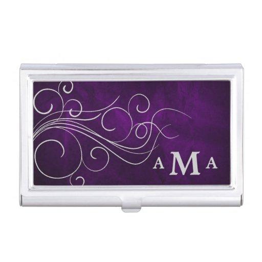 Elegant Purple Silver Swirl Monogram Case For Business Cards