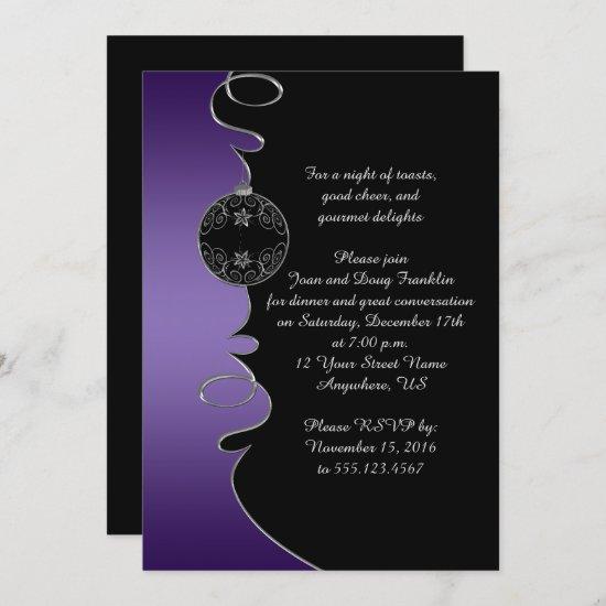Elegant Purple Silver Swirls Black Christmas Party Invitation