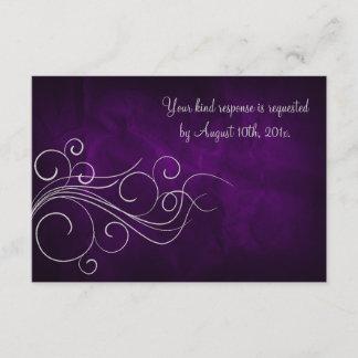 Elegant Purple Silver Wedding RSVP Card