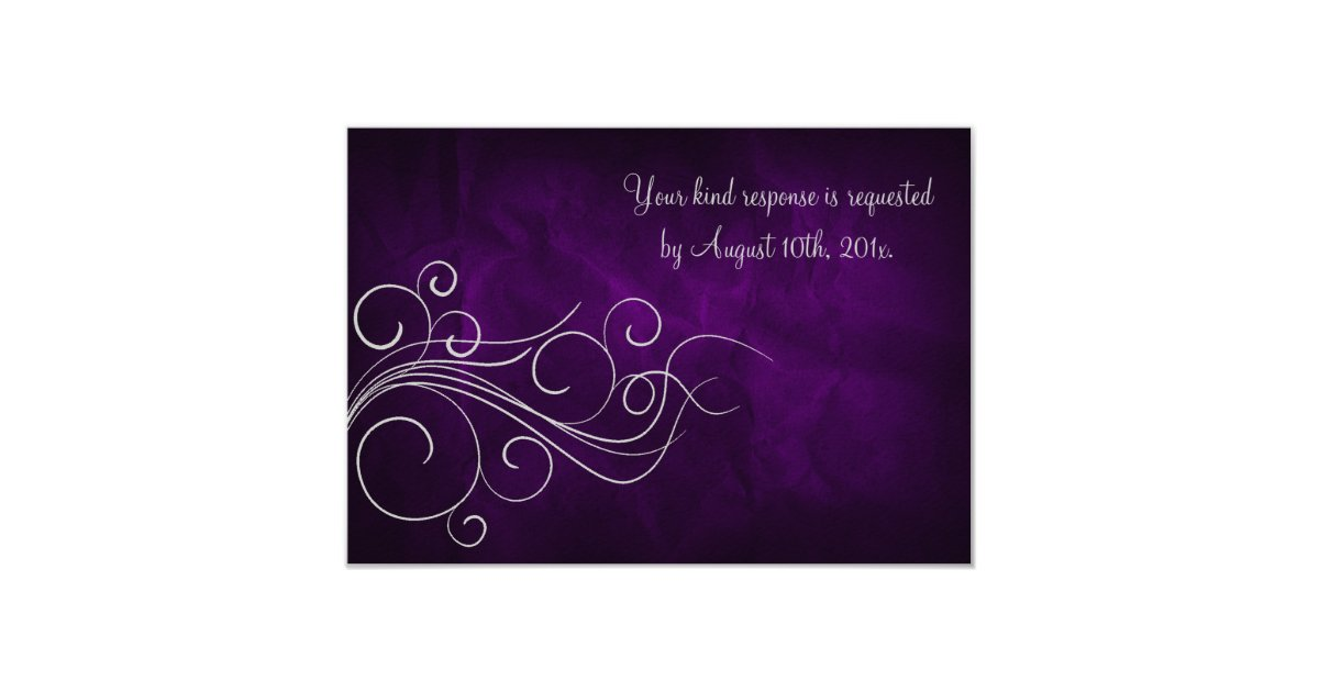Silver Wedding Gift Experiences : Elegant Purple Silver Wedding RSVP Card Zazzle