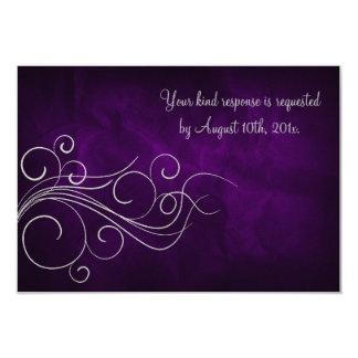 "Elegant Purple Silver Wedding RSVP Card 3.5"" X 5"" Invitation Card"