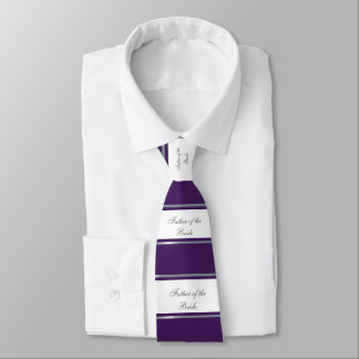 Elegant, Purple, Silver, White Father of the Bride Neck Tie