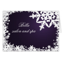 elegant purple snowflake  Business Thank You Cards