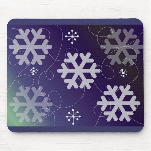 Elegant Purple Snowflake Design Mouse Pads