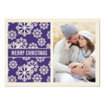 Elegant  PURPLE Snowflake Holiday Photo Card Personalized Invitation