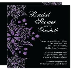 Elegant Purple Snowflakes Winter Bridal Shower Invitation