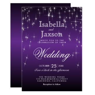 Elegant Purple Star Lights Wedding Invitation