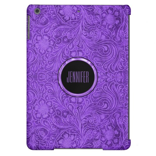 Elegant Purple Suede Leather Look Floral Design 2 iPad Air Cover