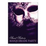 Elegant Purple Sweet 16 Masquerade Party Invites Custom Announcement