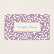 Elegant Purple Swirls Damask Feminine Floral Business Card