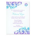 Elegant Purple Teal Flourish Bat Mitzvah 5x7 Paper Invitation Card