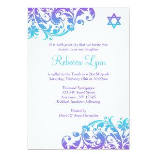 """Elegant Purple Teal Flourish Bat Mitzvah 5"""" X 7"""" Invitation Card"""