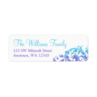Elegant Purple Teal Flourish Bat Mitzvah Label