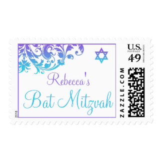 Elegant Purple Teal Flourish Bat Mitzvah Postage