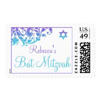 Elegant Purple Teal Flourish Bat Mitzvah Postage Stamp