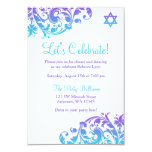 Elegant Purple Teal Flourish Bat Mitzvah Reception 3.5x5 Paper Invitation Card