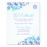 Elegant Purple Teal Flourish Bat Mitzvah Reception Card
